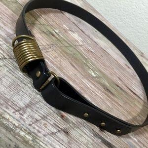 Coldwater Creek belt black leather multi loop pins